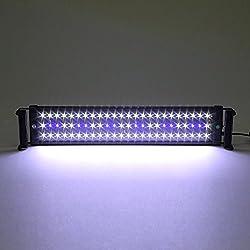 Amzdeal® Illuminazione Acquario Lampada Acquario adatto a 50-70 cm Acquario 11W 60 bianco LED +12 blu LED
