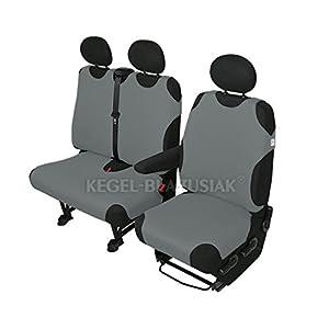 ZentimeX Z926995 Sitzbezüge Fahrersitz / Einzelsitz + Doppelbank / Zweierbank T-Shirt-Design Baumwolle hell grau