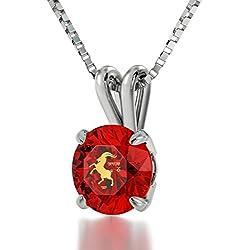 Joyas con piedra natal granate rojo - Collar de plata para Capricornio - Colgante del zodiaco con piedra preciosa de circonita CZ inscrita en oro de 24ct