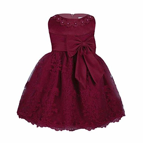 iiniim Baby Mädchen Prinzessin Kleid Blumenmädchenkleid Taufkleid Festlich Kleid Hochzeit Partykleid Festzug Babybekleidung Gr. 68-92 Burgundy 86-92/18-24 Monate