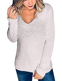 5b612e8a97bf Artistic9-Kleidung Damen Pullover Casual langärmlig Lose V-Ausschnitt  Strickpullover Sexy Spitze zurück Sweater