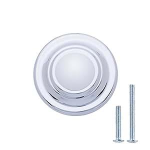 Durchmesser: 3,17 cm klassisch Antik-Silber 10er-Pack mit Ring-Optik oben Basics Schubladenknopf M/öbelgriff