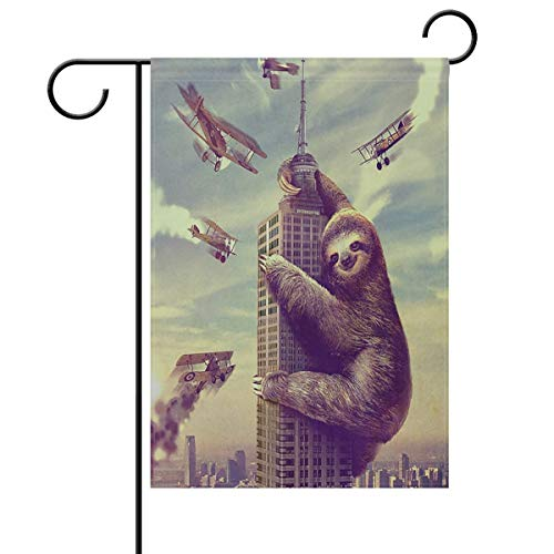 ASKYE Funny Sloth Climbing New York House Flag Garden Banner Double Sided, Vintage Sloth Airplane Summer Spring Garden Flags for Anniversary Yard Outdoor Decoration(Size: 28inch W X 40inch H)
