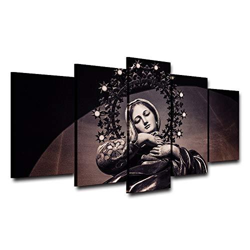 SDBY 5 Cuadro sobre Lienzo Cuadros de Lienzo de Arte de Pared para Carteles de Sala de Estar 5 Piezas Pintura de Virgen María Decoración para el hogarMarco de Foto Impreso