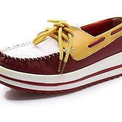 ShangYi Scarpe Donna - Sneakers alla moda - Ufficio e lavoro / Casual - Creepers - Plateau - Di pelle - Verde / Rosa / Viola / Rosso , purple-us8.5 / eu39 / uk6.5 / cn40 , purple-us8.5 / eu39 / uk6.5 / cn40
