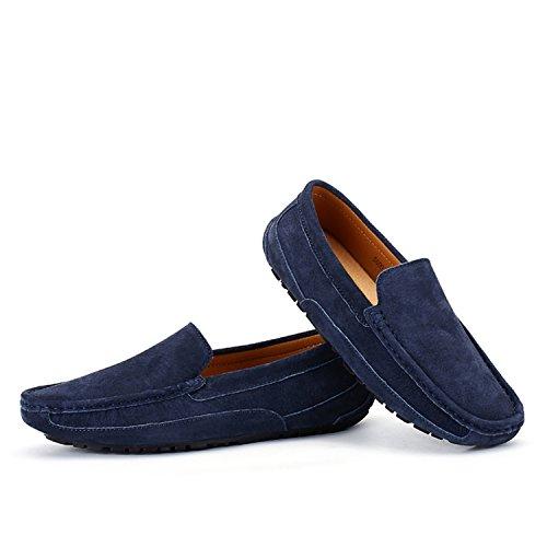 Icegrey Hommes Mocassins Cuir Suedé Loafers Casual Bateau Chaussures de Ville Flats Bleu