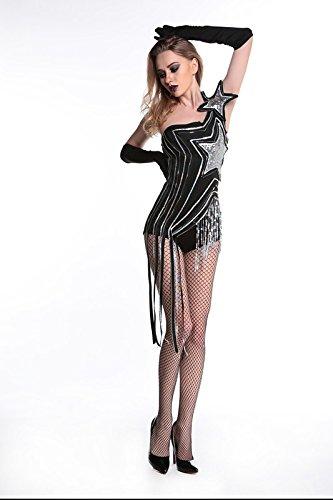 Kostüme Rock Sängerin (ZHLONG Die neue Bar ds Kostüme Quasten Sexy Nachtclub Sängerin Blei Tänzerin Kleidung Dj Jazz Kostüme Bühne ,)