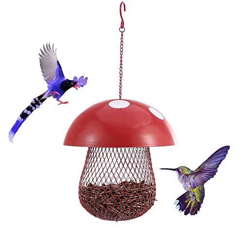 Hängende Vogelzufuhr für Käfig, Pilz-förmige Wild Bird Seed Feeder im Freien, Eisenkunst dekorativer Garten Metall hängende Lebensmittel Box Mesh House
