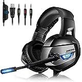Gaming Headset PC - ONIKUMA Gaming Headset 7.1 Headset aktualisierter Kopfhörer mit LED Gaming...