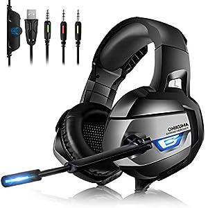 Gaming Headset PC – ONIKUMA Gaming Headset, Headset PC Kopfhörer mit LED Gaming Kopfhörer mit Mikrofon Lautstärkeregler-Headset für Nintendo Switch Laptop Handy Spiele PS4 Xbox One PC