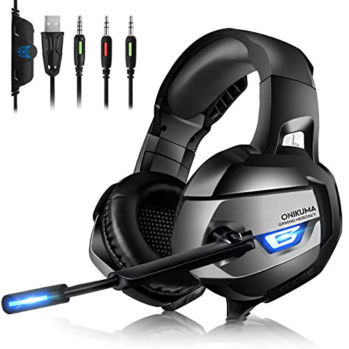 Gaming Headset PC - ONIKUMA Gaming Headset, Headset PC Kopfhörer mit LED Gaming Kopfhörer mit Mikrofon Lautstärkeregler-Headset für Nintendo Switch Laptop Handy Spiele PS4 Xbox One PC