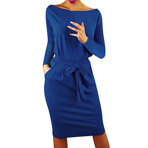 Lazzboy Womens Casual Pocket O-Neck Long Sleeve Solid Evening Party Mini Dress