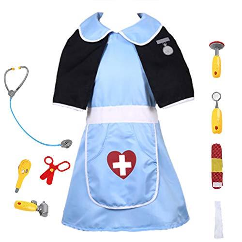 EZSTAX Kinder Kostüm Rollen Spiel Costume für Halloween Party Karneval,Tierarzt (Halloween Tierarzt Kostüm)