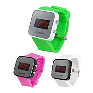 SODIAL(R) New Fashion Digital LED Silicone Sports Gym Watch Unisex Gift Colors Cute - Rose Red