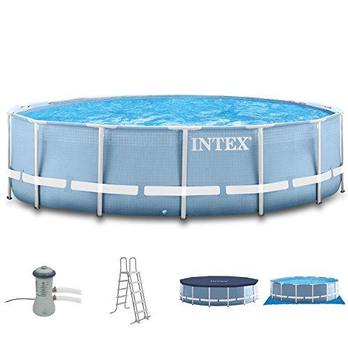 Intex 366x91 Schwimmbecken mit Filterpumpe, Sicherheitsleiter,Abdeckplane,Unterlegeplane und Anschlussset für Pool Schwimmbad Frame Metal Stahlwand