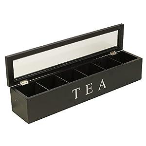 Boîte à thé en bois 6compartiments à couvercle en verre à épices pour capsules de café alimentaire