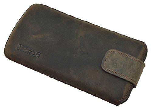 Suncase ECHT Ledertasche Leder Etui für iPhone X Tasche (mit Rückzugsfunktion und Klettverschluss) antik-cognac antik-dark braun