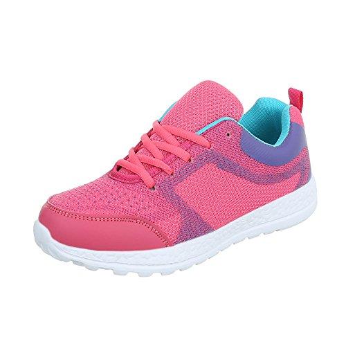 Ital-Design Sportschuhe Damenschuhe Geschlossen Sneakers Schnürsenkel Freizeitschuhe Pink EL20009