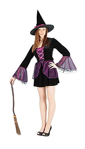 Halloween Kostüm Pop Kultur - Damen Halloween Hocus Pocus Hexe Kostüm Onesize EUR 36-42 (Onesize (EUR 36-42), Schwarz)