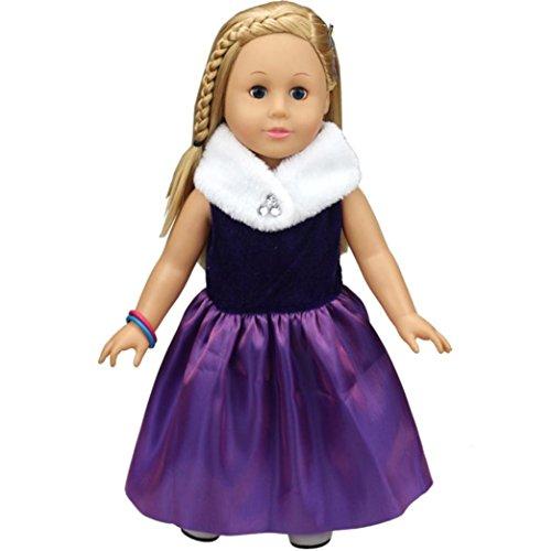 Mingfa Puppenkleider-Set für Puppen wie American Girl oder Our Generation (Größe: 45,7cm), süßes Prinzessinnenkleid, Puppenzubehör