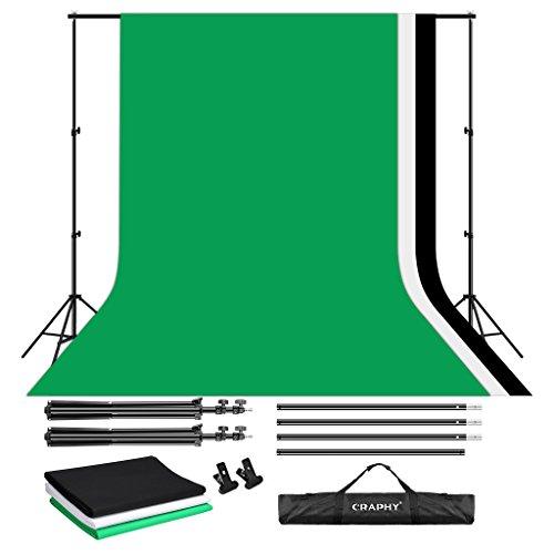 fotostudio hintergrundstoff CRAPHY Hintergrund Set, 2x3M Hintergrundsysteme mit 3x Hintergrundstoffe(Grün/Weiß/Schwarz) und Hintergrundständer, Fotostudio Hintergrundsystem für Green Screen, Portrait und Videoaufnahme