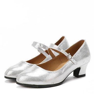 @ Tranquila Senhora Sapatos De Dança Latina Camurça / Espumante Brilho / Calcanhar Cubano Sintético Preto Vermelho / Prata / Preto / Ouro