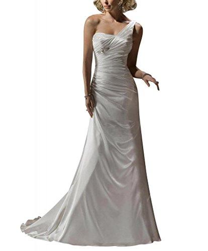 GEORGE BRIDE Elegante einfache Eine Schulter Satin Gericht Zug Brautkleider Hochzeitskleider Weiß