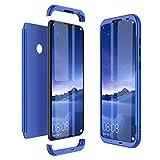 Winhoo Kompatibel mit Huawei Honor 10 Lite Hülle Hardcase 3 in 1 Handyhülle 360 Grad Schutz Ultra Dünn Slim Hard Full Body Case Cover Backcover Schutzhülle Bumper - Blau