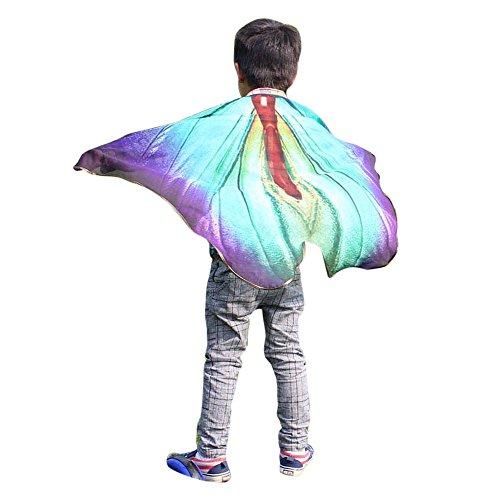 YWLINK Karneval Chiffon Jungen MäDchen Schmetterling FlüGel Drucken Umhang Klassisch Cosplay ZubehöR Kind Weihnachten Halloween Schal Pashmina KostüM ZubehöR(100 * 73CM,B Himmelblau)