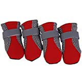 Whiie891203 Boots & Paw Protectors,4Pcs Breathable Mesh Dog Boots Pet Dog Shoes Non-slip Soft Sole Breathable Adjustable Straps Boots Dog Snow Socks Red L