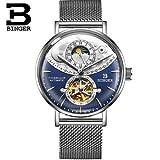 Binger Automatic Mechanical Sapphire Waterproof Men's Watch - B-1-03 - Blue