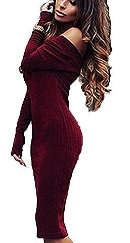 SunIfSnow - Robe spécial grossesse - Asymétrique - Uni - Manches Longues - Femme - rouge - X-Large