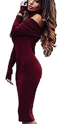 SunIfSnow -  Abito  - Monospalla - Basic - Maniche lunghe  - Donna Red Wine Large