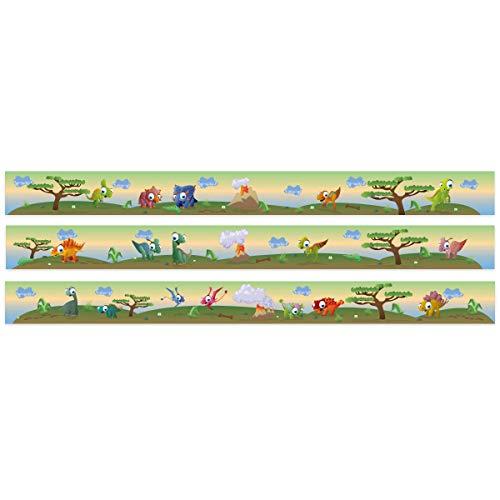 Wandkings Bordüre - Wähle ein Motiv - Bunte Dinos - 3x selbstklebende Wandbordüren je 150 cm - Gesamtlänge: 450 cm - Höhe: 12,5 cm