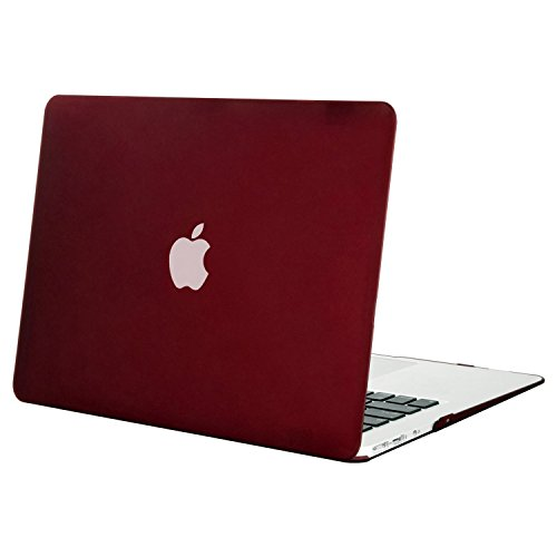 MOSISO MacBook Air 13 Hülle - Ultra Slim Hochwertige Plastik Hartschale Tasche Schutzhülle Snap Case für MacBook Air 13 Zoll (A1466 / A1369), Marsala Rot