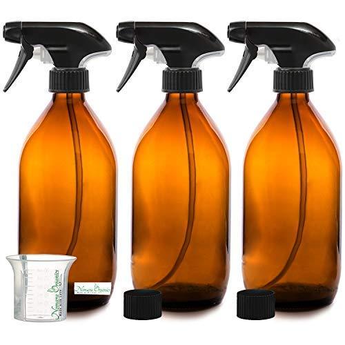 Nomara Organics® BPA frei Bernstein Glas Spray Flasche 3 x 500 ml. BPA frei Pumpe/ wiederverwendbar/umweltfreundlich/Küche, Bio Beauty/Reinigung produkte