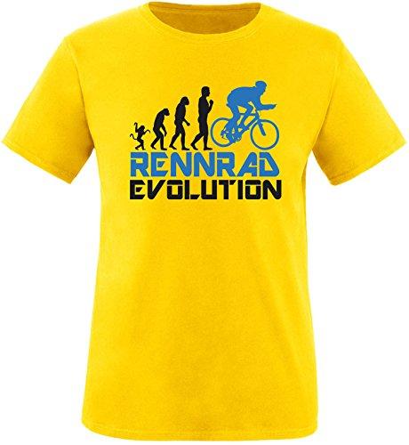 EZYshirt® Rennrad Evolution Herren Rundhals T-Shirt Gelb/Schwarz/Blau