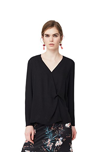 mango-knot-detail-flowy-shirts-long-sleeve-blouse-size14-colorblack