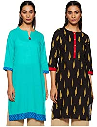 Indigo Women's Straight Kurti (Pack of 2)