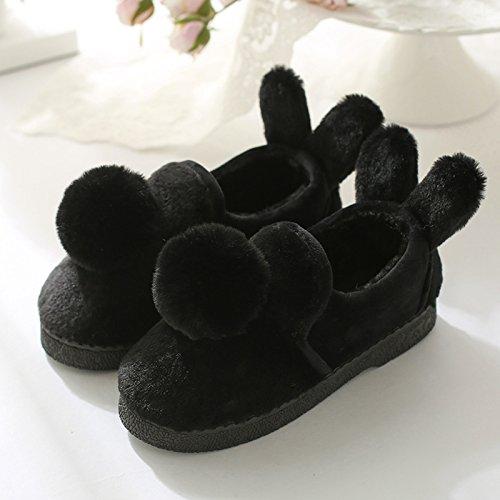 Coppie fankou home cotone pantofole indoor fondo spesso caldo pantofole uomini e donne inverno borsa con la cute Rose Rot