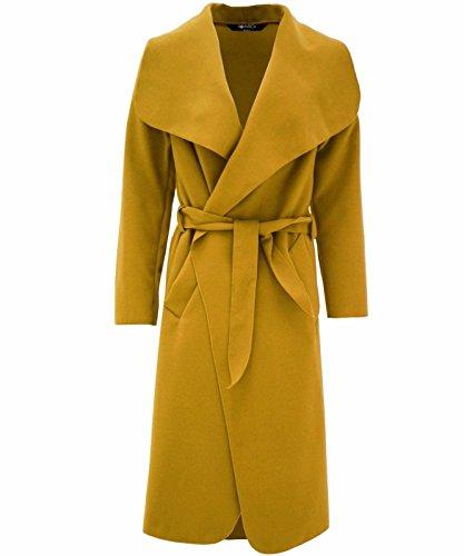 Janisramone femmes célébrité cascade drapé ceinturé fashion veste abaya manches longues Cap moutarde