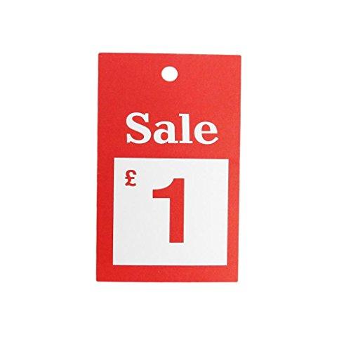New 100x Verkauf £1Für große Karten reduzierten Preis Tagging Gun Karte Pricing Kleiderbügel Swing Tickets Zahlen Karten -