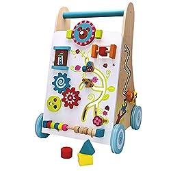 Baby walker Wooden with play games Learning cart Motorik Spiel und Laufwagen Lernspielzeug Lauflern Creative Toddler Baby Colored Aquamarine Blue