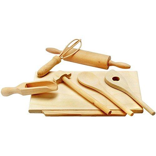Preisvergleich Produktbild Backzubehör * aus Hartholz, natur, 7 Teile, Kochlöffel, Quirl, Teigrolle etc. - Alles da, damit der kleine Hobby-Bäcker beim Backen helfen kann * Grösse:24 x 16 x 5 cm