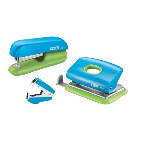 Rapid 5000370 Set heftgerät (F5 plus LoFC10, Entklammerer C2, SB) blau/grün (Locher Set)