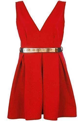 SAPHIR Femmes Ceinture Dorée Patineuse femme célébrité Keegan V Col Pigeonnant Robe Évasée 8-26 Rouge