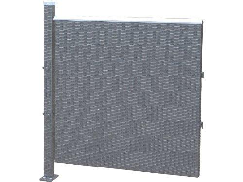 Prime Tech Poly-Rattan Sichtschutz / Zaun, Erweiterungselement 90x90 cm in anthrazit / grau