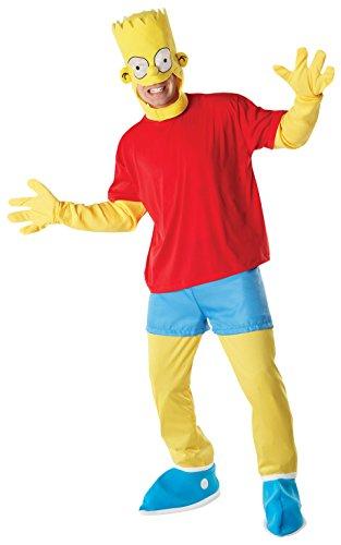 Rubie's 3 880655 STD - Bart Simpson Erwachsene Deluxe Kostüm, Standardgröße, rot/gelb (Simpsons Kostüm Für Erwachsene)