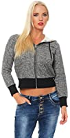 Fashion4Young Damen Jogginganzug Jacke Haremshose Sportanzug Sporthose Boyfriend Trainingsanzug hose (L=40, Anthrazit)