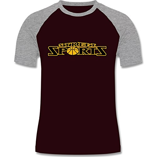 Basketball - Basketball Street Sports - zweifarbiges Baseballshirt für Männer Burgundrot/Grau meliert